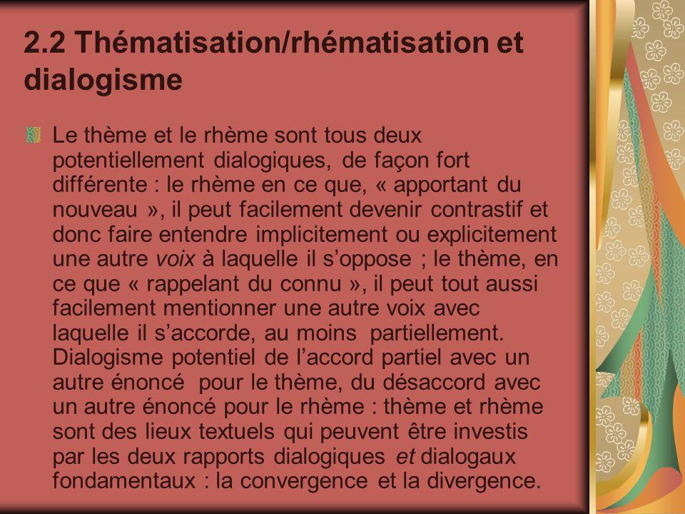 2.2 Thématisation/rhématisation et dialogisme Le thème et le rhème sont tous deux potentiellement dialogiques, de façon fort différente : le rhème en