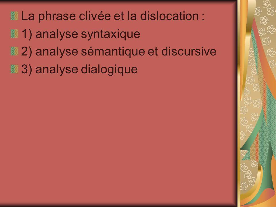 La phrase clivée et la dislocation : 1) analyse syntaxique 2) analyse sémantique et discursive 3) analyse dialogique