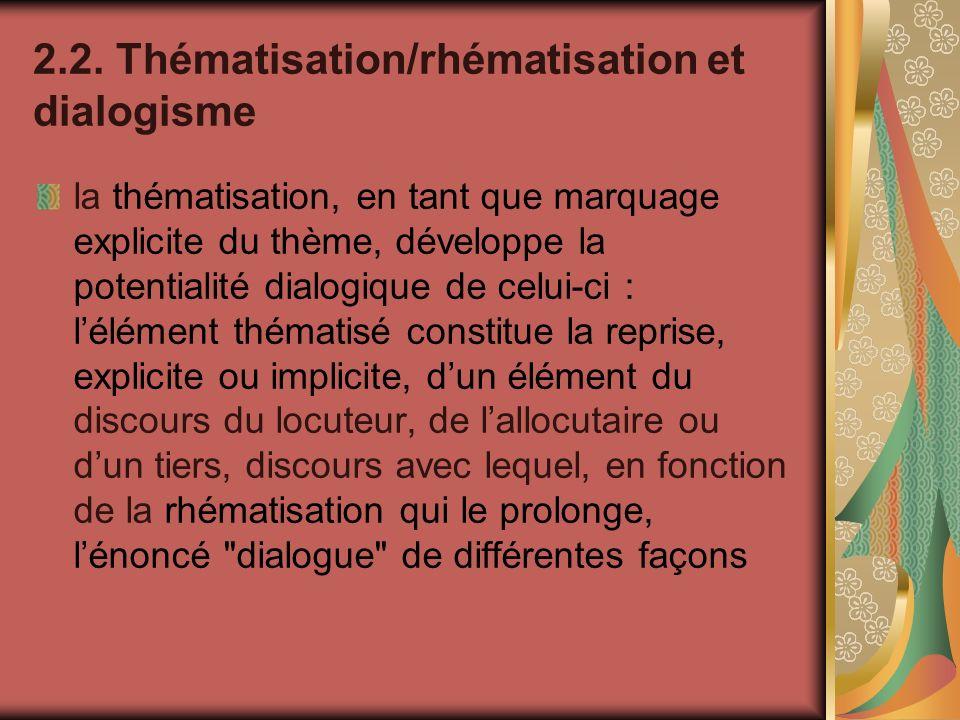 2.2. Thématisation/rhématisation et dialogisme la thématisation, en tant que marquage explicite du thème, développe la potentialité dialogique de celu