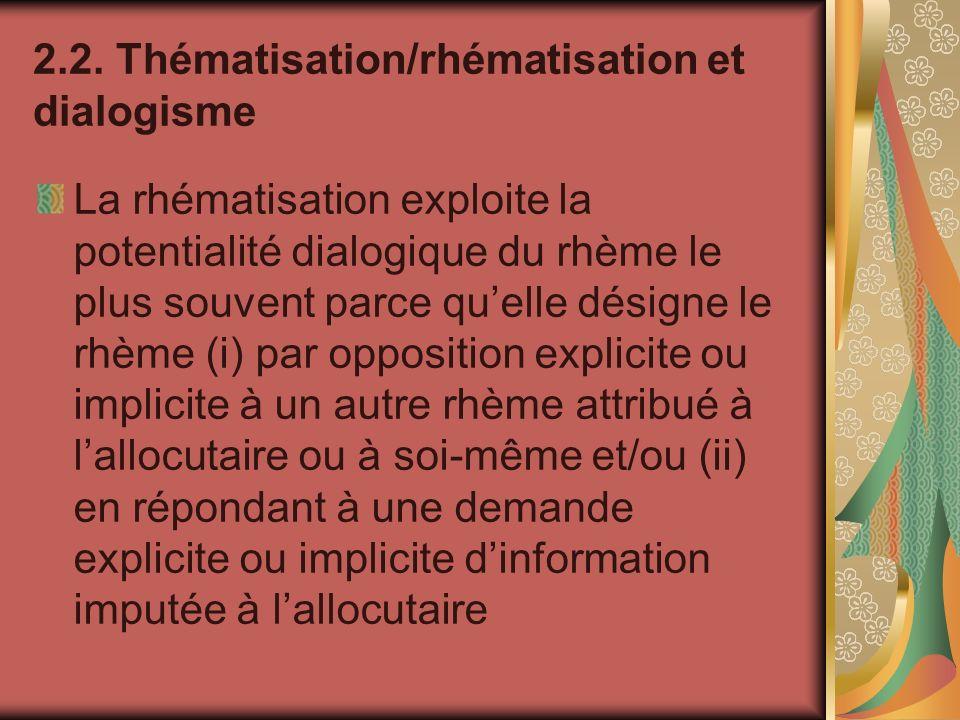 2.2. Thématisation/rhématisation et dialogisme La rhématisation exploite la potentialité dialogique du rhème le plus souvent parce quelle désigne le r