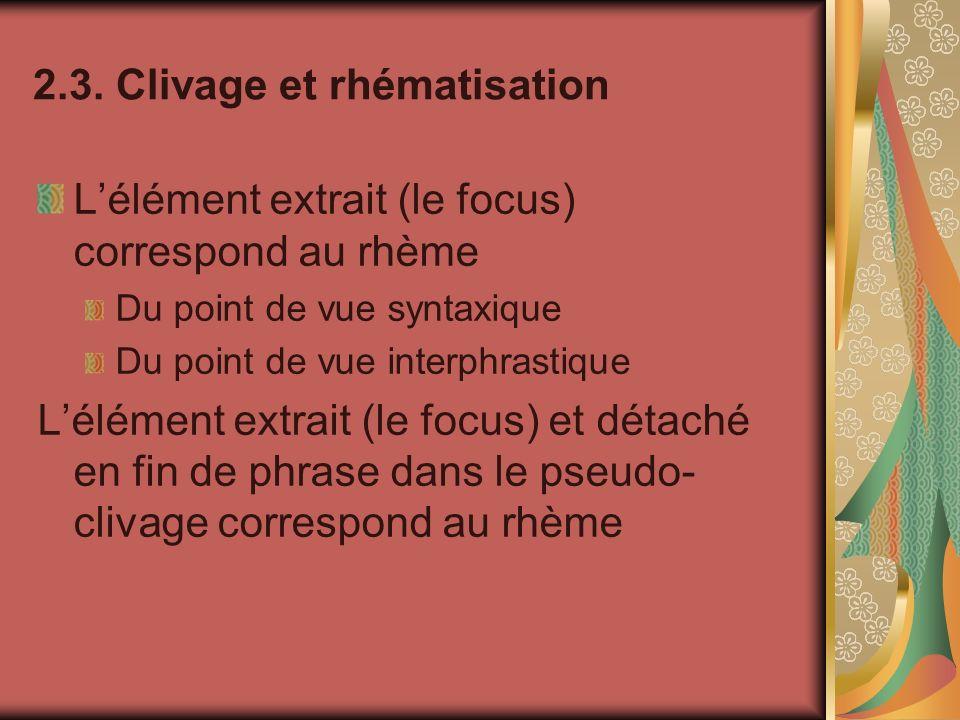 2.3. Clivage et rhématisation Lélément extrait (le focus) correspond au rhème Du point de vue syntaxique Du point de vue interphrastique Lélément extr