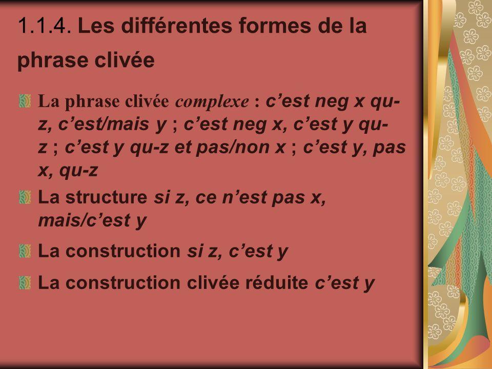 1.1.4. Les différentes formes de la phrase clivée La phrase clivée complexe : cest neg x qu- z, cest/mais y ; cest neg x, cest y qu- z ; cest y qu-z e