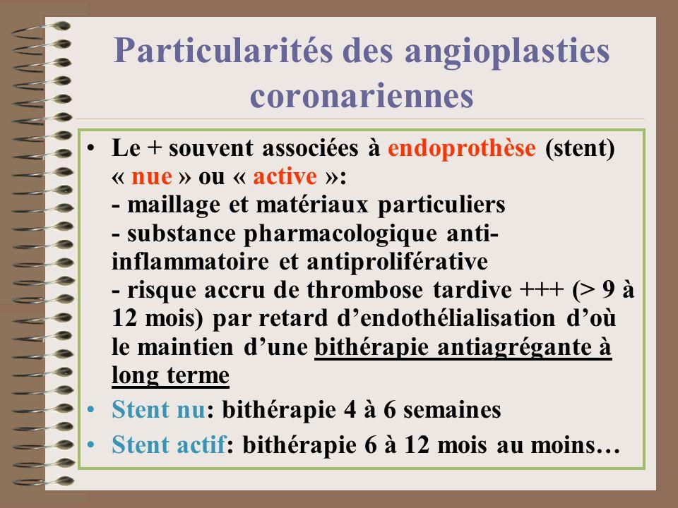 Particularités des angioplasties coronariennes Le + souvent associées à endoprothèse (stent) « nue » ou « active »: - maillage et matériaux particulie