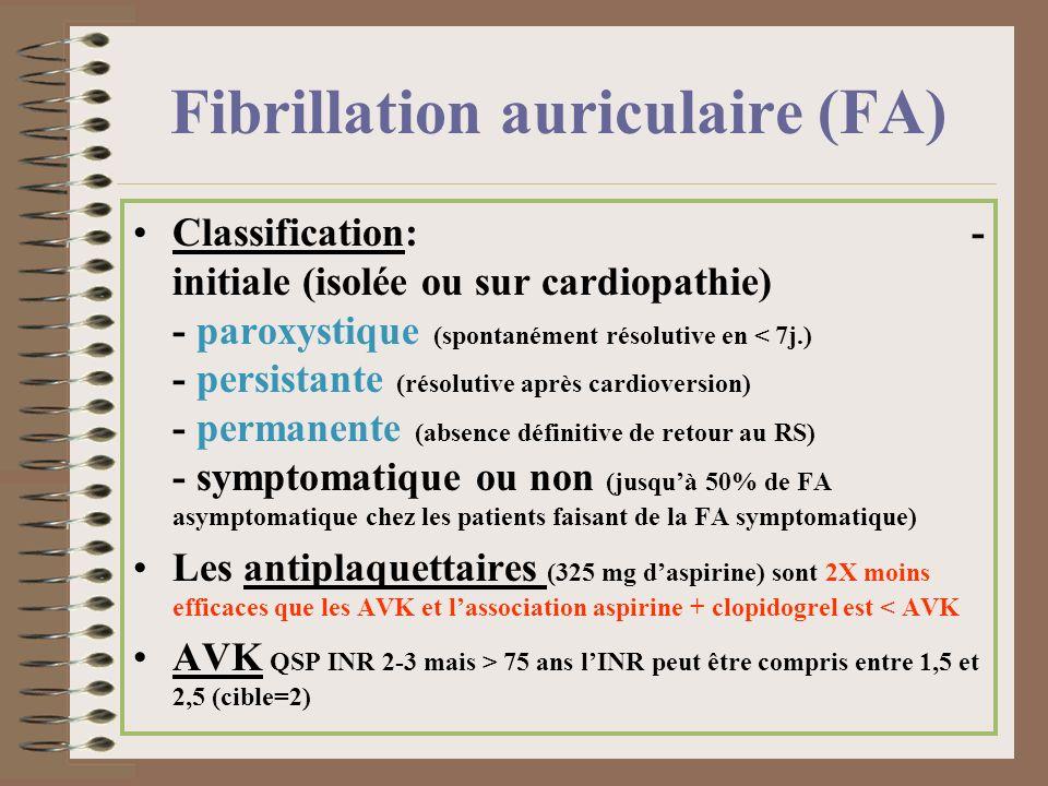 Classification: - initiale (isolée ou sur cardiopathie) - paroxystique (spontanément résolutive en < 7j.) - persistante (résolutive après cardioversio