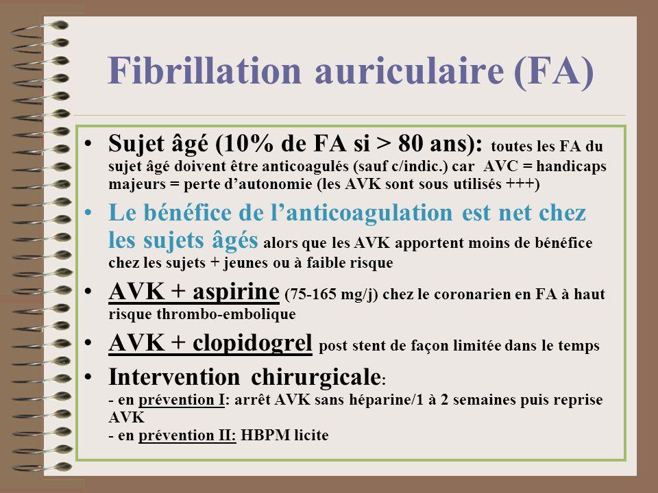Fibrillation auriculaire (FA) Sujet âgé (10% de FA si > 80 ans): toutes les FA du sujet âgé doivent être anticoagulés (sauf c/indic.) car AVC = handic