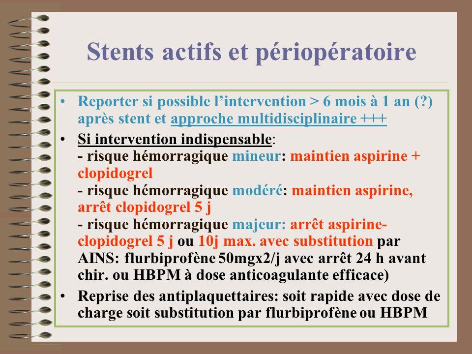 Stents actifs et périopératoire Reporter si possible lintervention > 6 mois à 1 an (?) après stent et approche multidisciplinaire +++ Si intervention