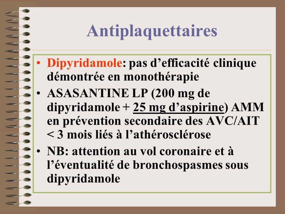 Antiplaquettaires Dipyridamole: pas defficacité clinique démontrée en monothérapie ASASANTINE LP (200 mg de dipyridamole + 25 mg daspirine) AMM en pré