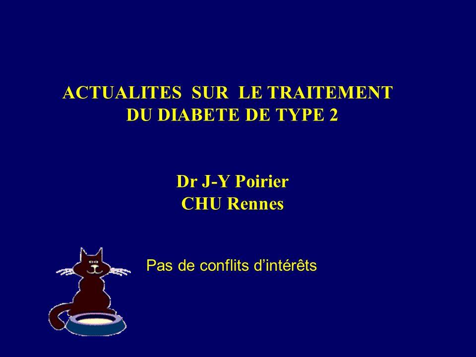 La metformine: Glucophage, Stagid Diminue linsulinorésistance Ne provoque pas dhypoglycémie ni de prise de poids Intolérance digestive possible (poso progressive ++++) CI si I Rénale (Cl < 30 à 40 ml/mn) Plus efficace sur glycémies à jeun que sur post-prandiales Baisse attendue de lHbA1c 1 à 2 % Dose maximale 2 (à 3 g/j)