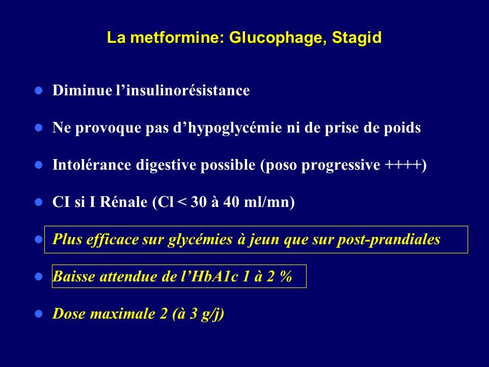 La metformine: Glucophage, Stagid Diminue linsulinorésistance Ne provoque pas dhypoglycémie ni de prise de poids Intolérance digestive possible (poso