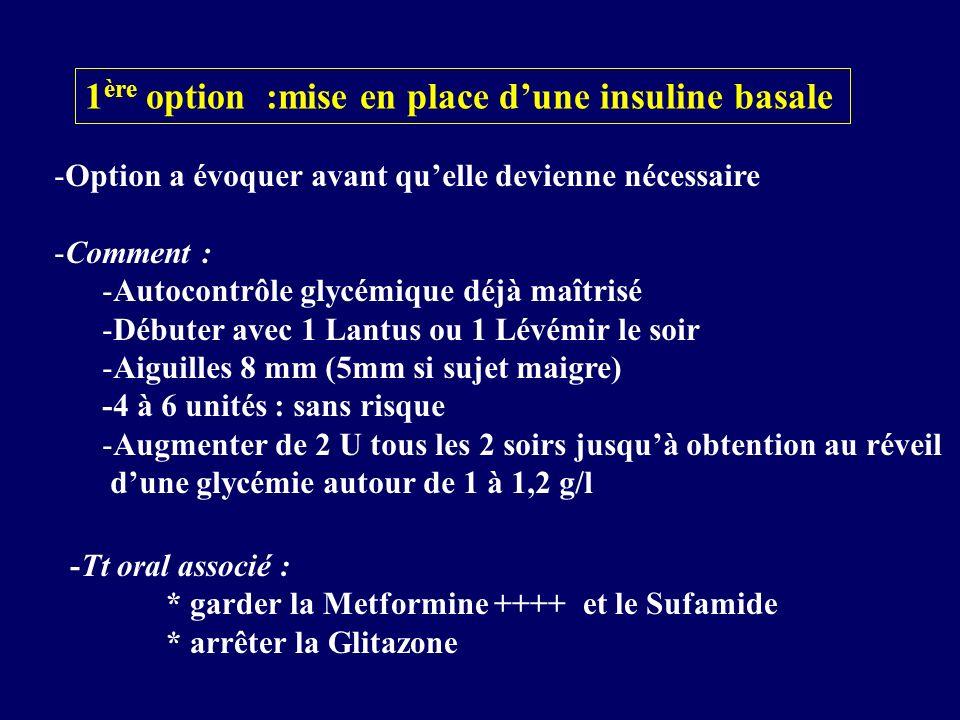 1 ère option :mise en place dune insuline basale -Option a évoquer avant quelle devienne nécessaire -Comment : -Autocontrôle glycémique déjà maîtrisé
