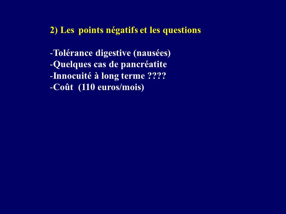 2) Les points négatifs et les questions -Tolérance digestive (nausées) -Quelques cas de pancréatite -Innocuité à long terme ???? -Coût (110 euros/mois