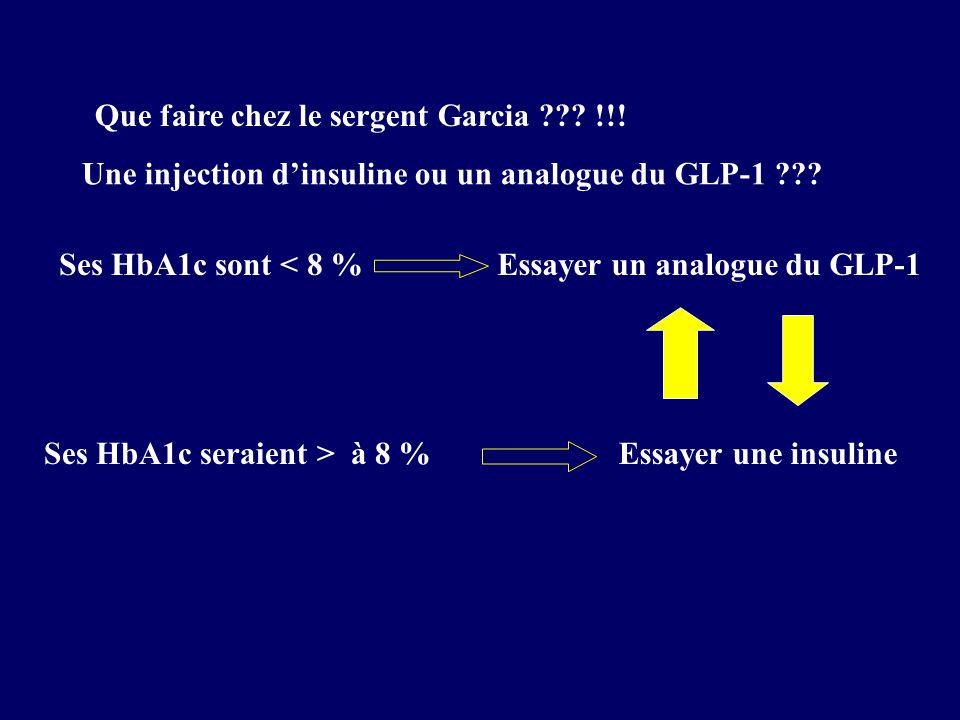 Que faire chez le sergent Garcia ??? !!! Une injection dinsuline ou un analogue du GLP-1 ??? Ses HbA1c sont < 8 %Essayer un analogue du GLP-1 Ses HbA1