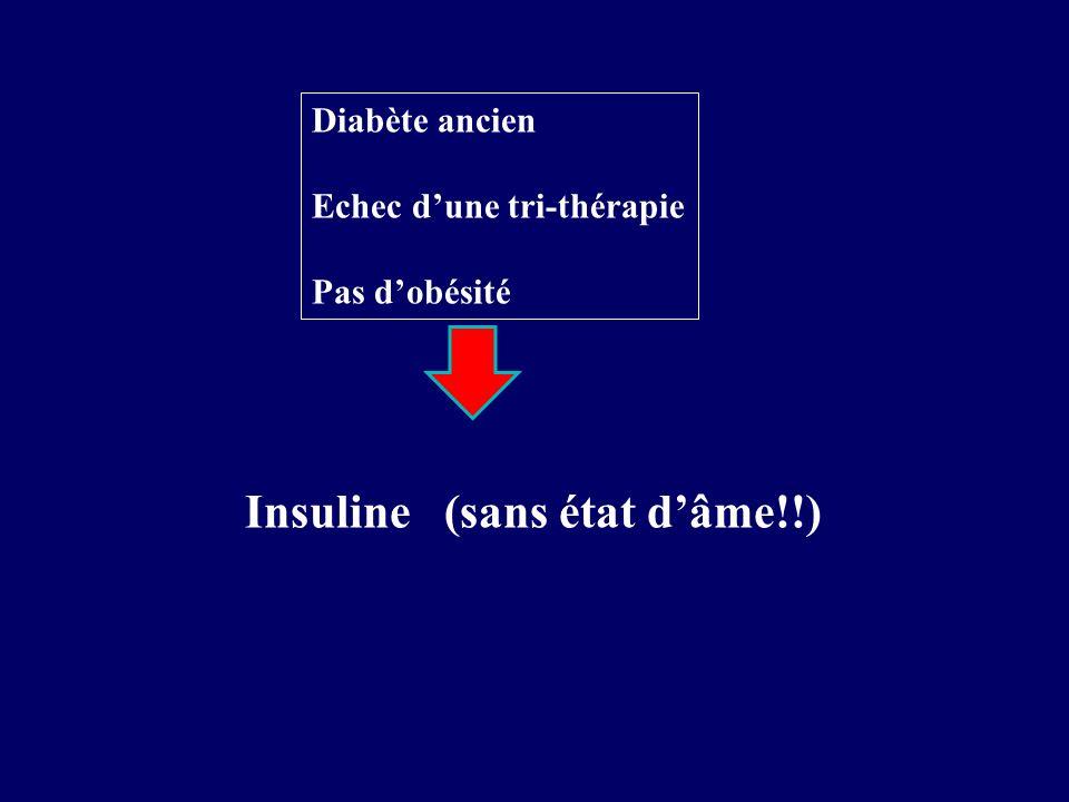 Diabète ancien Echec dune tri-thérapie Pas dobésité Insuline (sans état dâme!!)