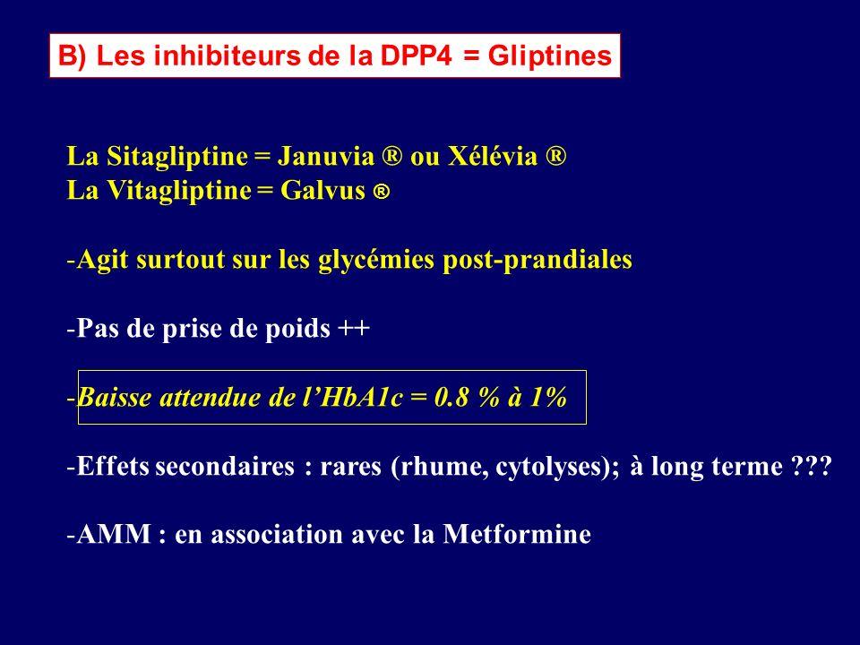 La Sitagliptine = Januvia ® ou Xélévia ® La Vitagliptine = Galvus ® -Agit surtout sur les glycémies post-prandiales -Pas de prise de poids ++ -Baisse
