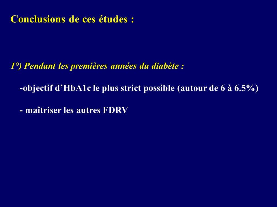 Conclusions de ces études : 1°) Pendant les premières années du diabète : -objectif dHbA1c le plus strict possible (autour de 6 à 6.5%) - maîtriser le