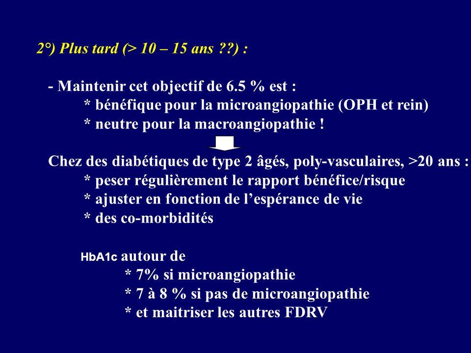 2°) Plus tard (> 10 – 15 ans ??) : - Maintenir cet objectif de 6.5 % est : * bénéfique pour la microangiopathie (OPH et rein) * neutre pour la macroan