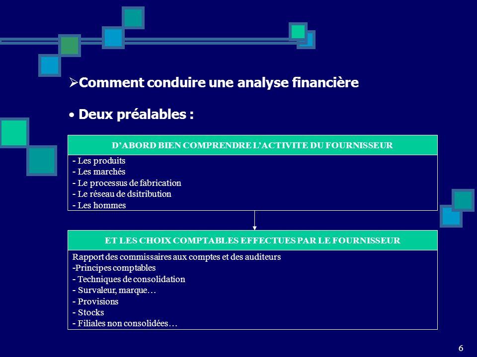 6 Comment conduire une analyse financière Deux préalables : DABORD BIEN COMPRENDRE LACTIVITE DU FOURNISSEUR - Les produits - Les marchés - Le processus de fabrication - Le réseau de dsitribution - Les hommes ET LES CHOIX COMPTABLES EFFECTUES PAR LE FOURNISSEUR Rapport des commissaires aux comptes et des auditeurs -Principes comptables - Techniques de consolidation - Survaleur, marque… - Provisions - Stocks - Filiales non consolidées…