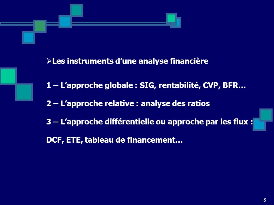 8 Les instruments dune analyse financière 1 – Lapproche globale : SIG, rentabilité, CVP, BFR… 2 – Lapproche relative : analyse des ratios 3 – Lapproche différentielle ou approche par les flux : DCF, ETE, tableau de financement…
