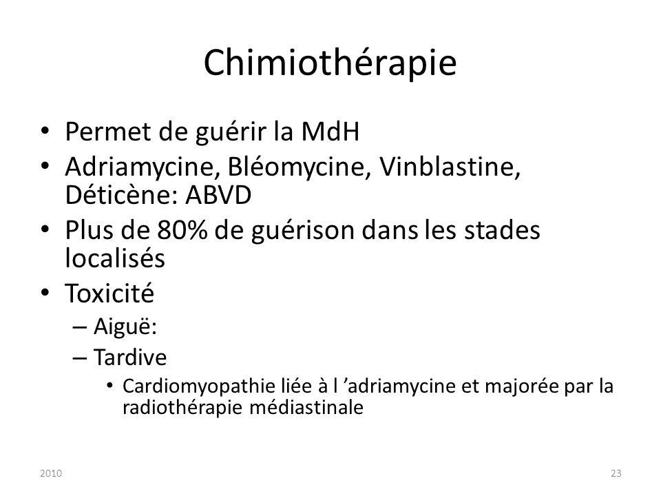 201023 Chimiothérapie Permet de guérir la MdH Adriamycine, Bléomycine, Vinblastine, Déticène: ABVD Plus de 80% de guérison dans les stades localisés T