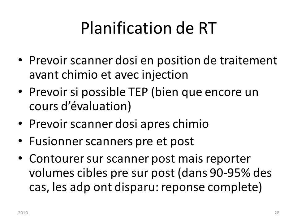 201028 Planification de RT Prevoir scanner dosi en position de traitement avant chimio et avec injection Prevoir si possible TEP (bien que encore un c