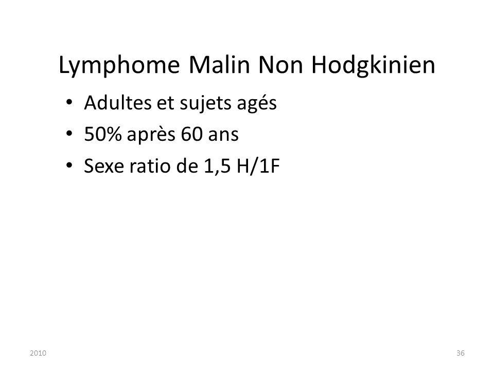 201036 Lymphome Malin Non Hodgkinien Adultes et sujets agés 50% après 60 ans Sexe ratio de 1,5 H/1F