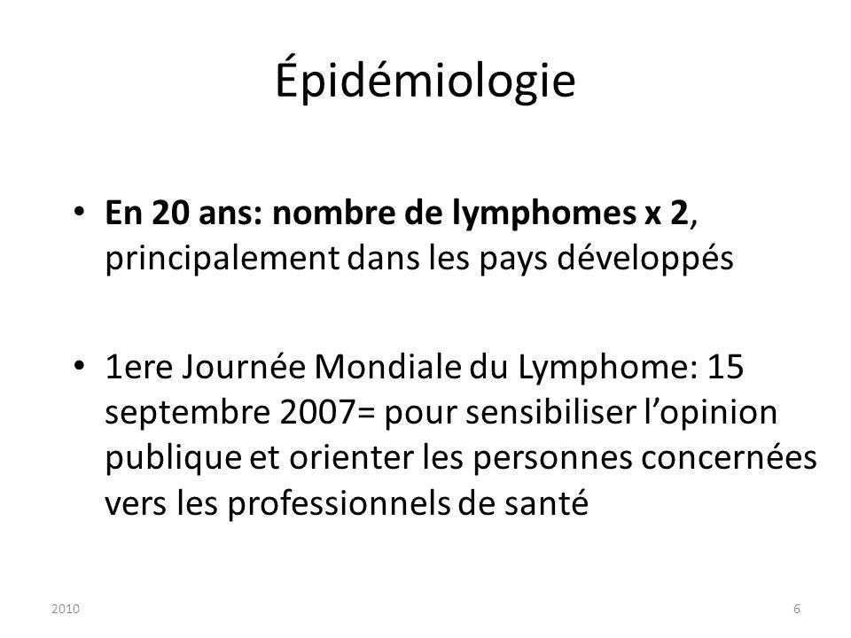 20106 Épidémiologie En 20 ans: nombre de lymphomes x 2, principalement dans les pays développés 1ere Journée Mondiale du Lymphome: 15 septembre 2007=