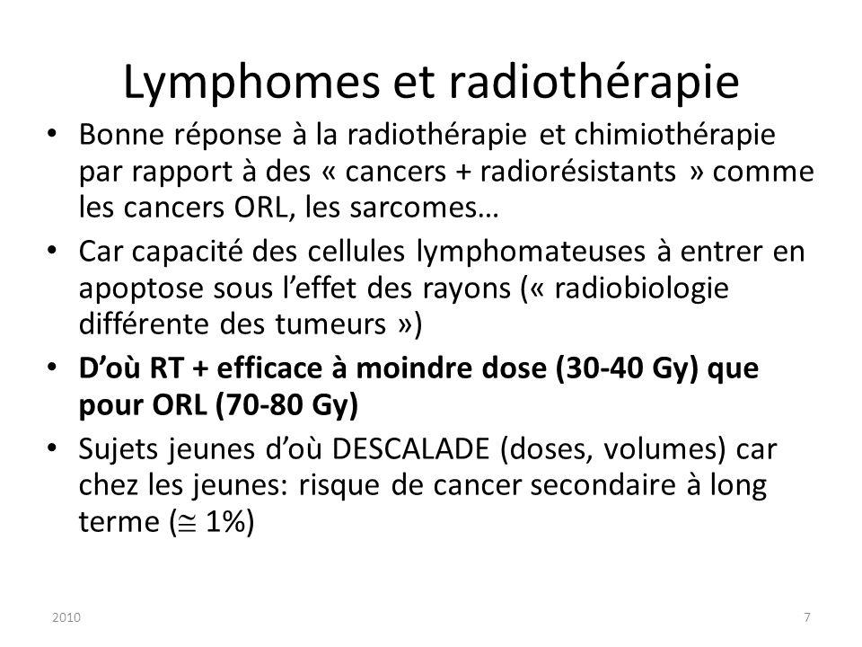 20107 Lymphomes et radiothérapie Bonne réponse à la radiothérapie et chimiothérapie par rapport à des « cancers + radiorésistants » comme les cancers