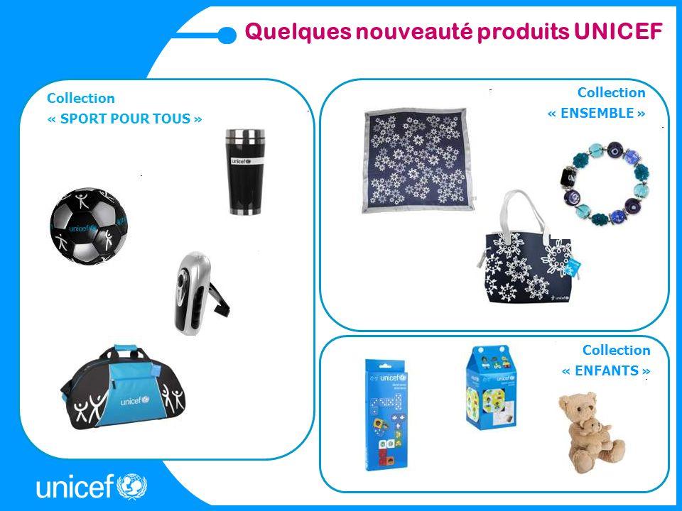 Quelques nouveauté produits UNICEF Collection « ENSEMBLE » Collection « SPORT POUR TOUS » Collection « ENFANTS »