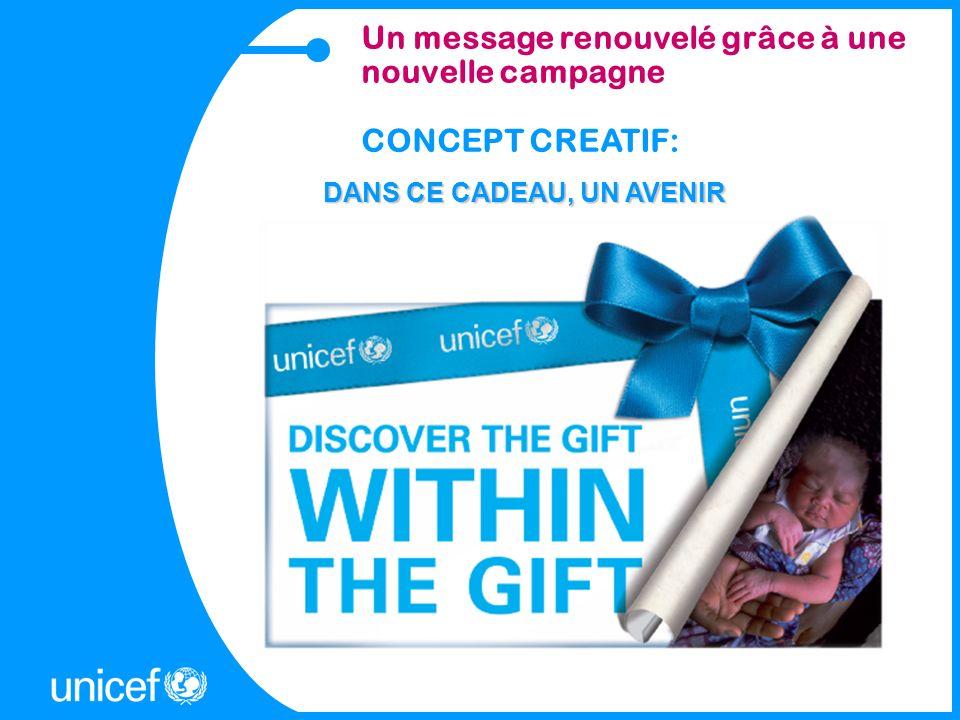 Un message renouvelé grâce à une nouvelle campagne CONCEPT CREATIF: DANS CE CADEAU, UN AVENIR