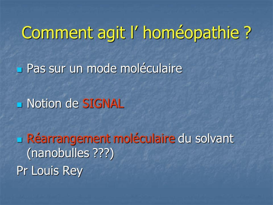 Comment agit l homéopathie ? Pas sur un mode moléculaire Pas sur un mode moléculaire Notion de SIGNAL Notion de SIGNAL Réarrangement moléculaire du so