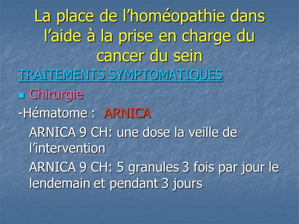 La place de lhoméopathie dans la prise en charge du cancer du sein Traitement symptômatique Chirurgie Chirurgie -CICATRISATION STAPHYSAGRIA STAPHYSAGRIA 9 CH 5 granules 3 fois par jour -Cicatrice chéloïde: GRAPHITES