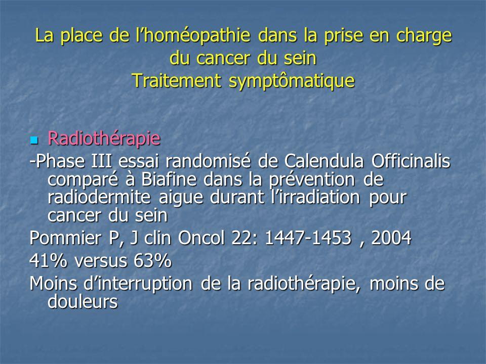 La place de lhoméopathie dans la prise en charge du cancer du sein Traitement symptômatique Radiothérapie Radiothérapie Sein rouge, gonflé, douleur soulagée par eau froide, type coup de soleil Sein rouge, gonflé, douleur soulagée par eau froide, type coup de soleil APIS 9 CH: 5 granules plusieurs fois par jour Sein écarlate, fièvre, douleur pulsatille Sein écarlate, fièvre, douleur pulsatille BELLADONNA 9 CH: 5 granules plusieurs fois par jour (« Efficacy of homeopathic treatment of skin, randomised, double-blind clinical trial » Balzarini A,British Homeopathic journal, 2000)