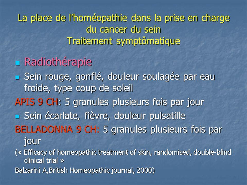 La place de lhoméopathie dans la prise en charge du cancer du sein Traitement symptômatique Radiothérapie Radiothérapie Sein rouge, gonflé, douleur so