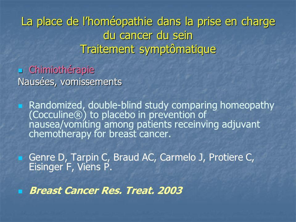 La place de lhoméopathie dans la prise en charge du cancer du sein Essai clinique de phase III - Institut Paoli Calmettes Marseille – 2002 Patientes ayant présenté des nausées lors du 1 er cycle de chimiothérapie : Cocculine ® : 61,5 % Cocculine ® : 61,5 % Placebo : 87,5 % Placebo : 87,5 %