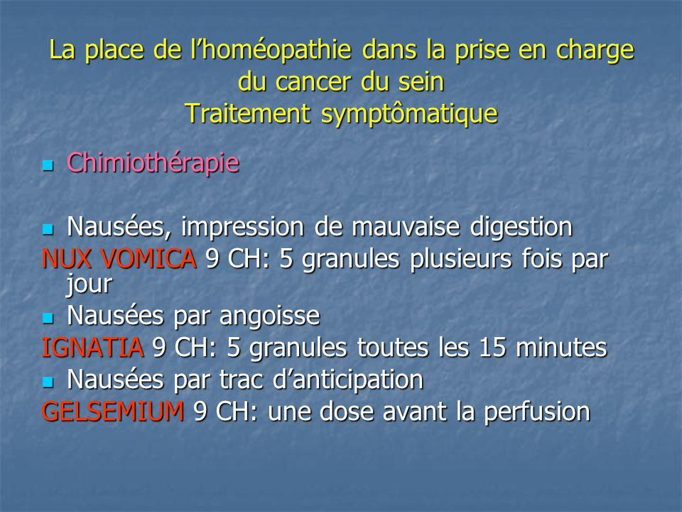 La place de lhoméopathie dans la prise en charge du cancer du sein Traitement symptômatique Chimiothérapie Chimiothérapie Nausées, impression de mauva