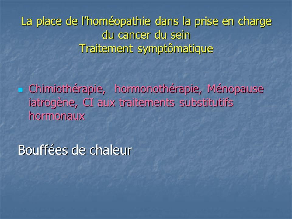 La place de lhoméopathie dans la prise en charge du cancer du sein Traitement symptômatique Chimiothérapie, hormonothérapie, Ménopause iatrogène, CI aux traitements substitutifs hormonaux Chimiothérapie, hormonothérapie, Ménopause iatrogène, CI aux traitements substitutifs hormonaux Bouffées de chaleur