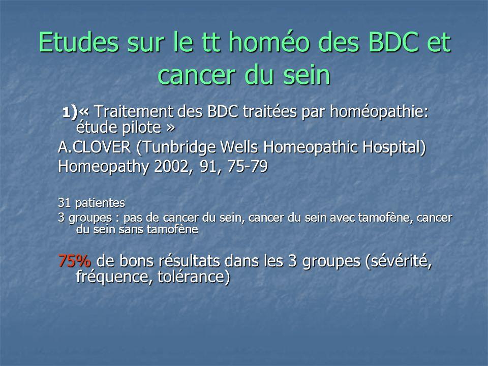 Etudes sur le tt homéo des BDC et cancer du sein 1 )« Traitement des BDC traitées par homéopathie: étude pilote » 1 )« Traitement des BDC traitées par