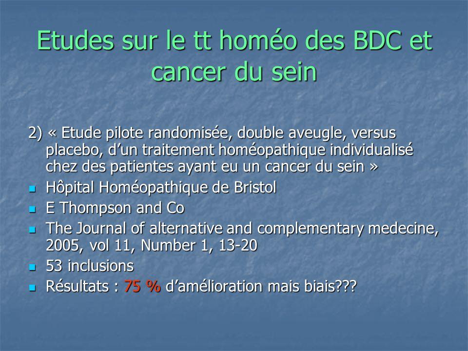Etudes sur le tt homéo des BDC et cancer du sein 2) « Etude pilote randomisée, double aveugle, versus placebo, dun traitement homéopathique individual