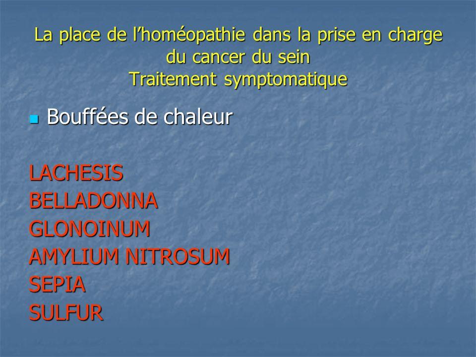 La place de lhoméopathie dans la prise en charge du cancer du sein Traitement symptomatique Bouffées de chaleur Bouffées de chaleurLACHESISBELLADONNAG
