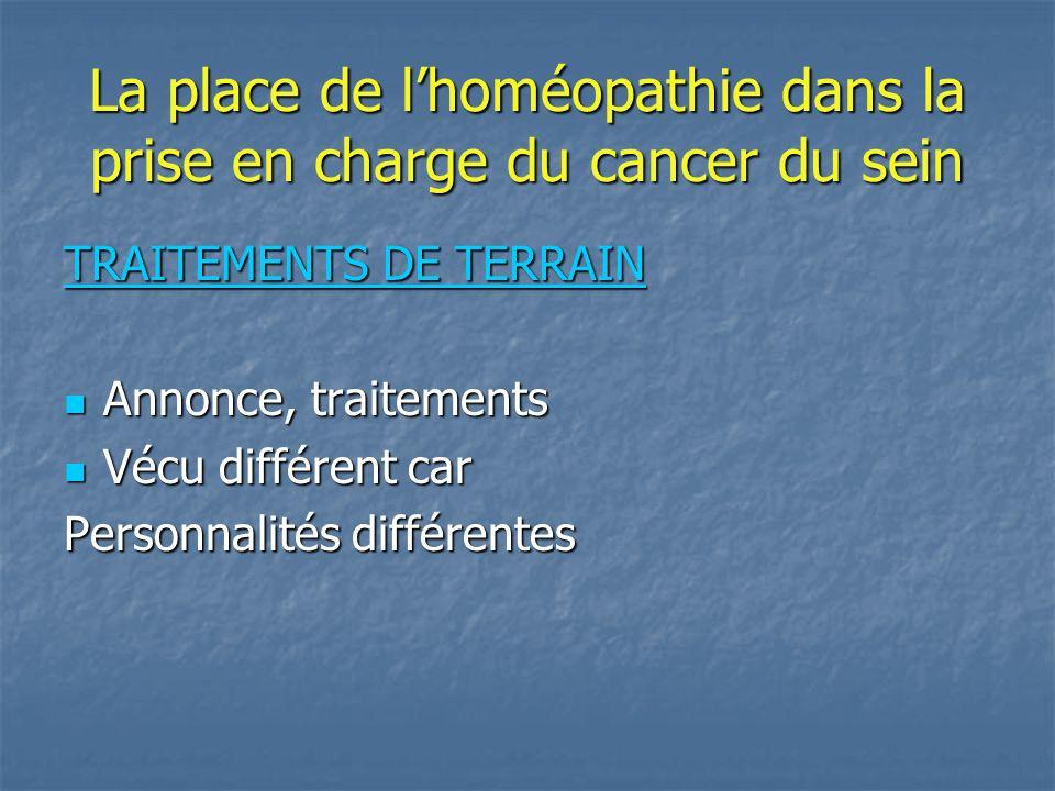 La place de lhoméopathie dans la prise en charge du cancer du sein TRAITEMENTS DE TERRAIN Annonce, traitements Annonce, traitements Vécu différent car