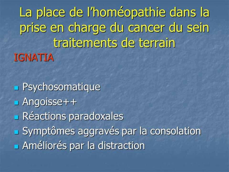 La place de lhoméopathie dans la prise en charge du cancer du sein Traitements de terrain ARSENICUM ALBUM Dépression réactionnelle anxieuse avec asthénie intense, réveil à 1 h Dépression réactionnelle anxieuse avec asthénie intense, réveil à 1 h Angoisse++ Angoisse++ Crainte de la mort Crainte de la mort Se soigne méticuleusement; tableau précis des médicaments, des traitements..