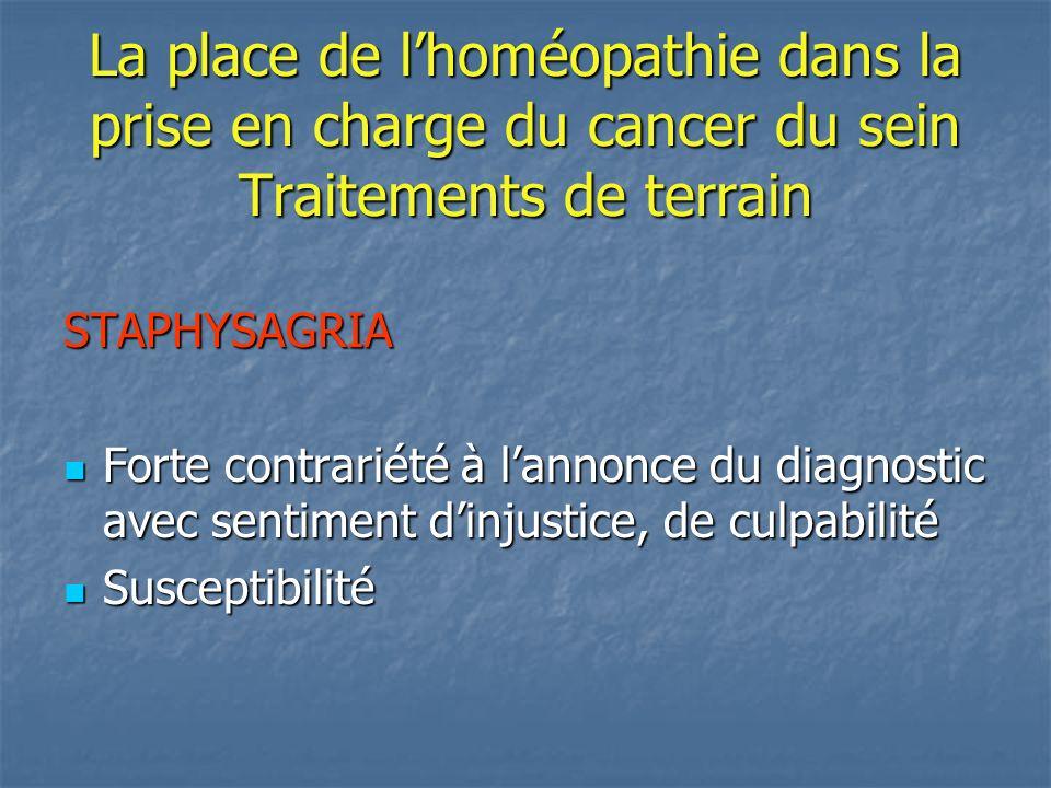 La place de lhoméopathie dans la prise en charge du cancer du sein Traitements de terrain NUX VOMICA Colère notamment face aux médecins Colère notamment face aux médecins Impatience Impatience Mais réactivité, esprit combattif Mais réactivité, esprit combattif