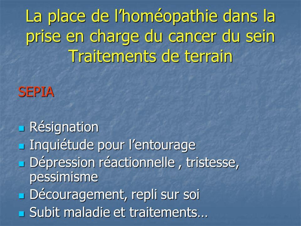 La place de lhoméopathie dans la prise en charge du cancer du sein Traitements de terrain SEPIA Résignation Résignation Inquiétude pour lentourage Inq