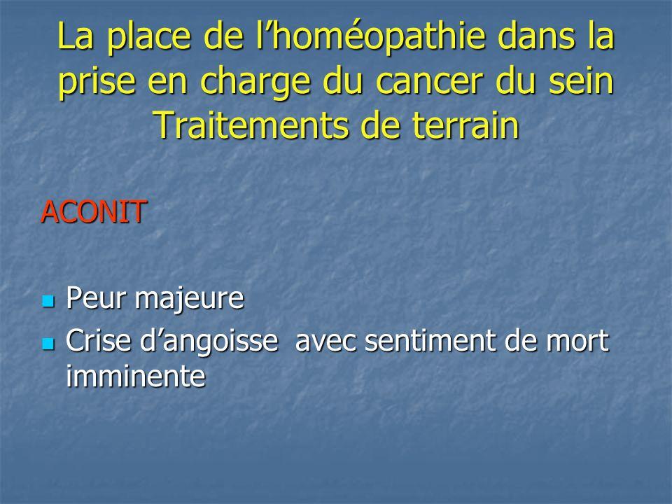 La place de lhoméopathie dans la prise en charge du cancer du sein Traitements de terrain ACONIT Peur majeure Peur majeure Crise dangoisse avec sentim