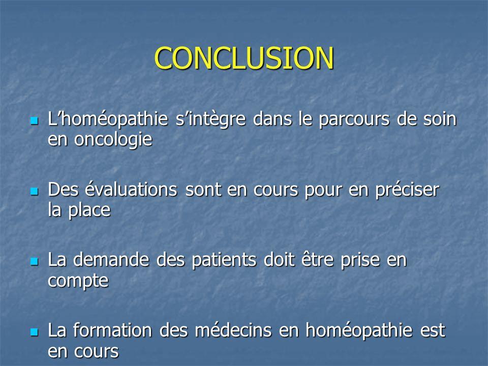 CONCLUSION Lhoméopathie sintègre dans le parcours de soin en oncologie Lhoméopathie sintègre dans le parcours de soin en oncologie Des évaluations son