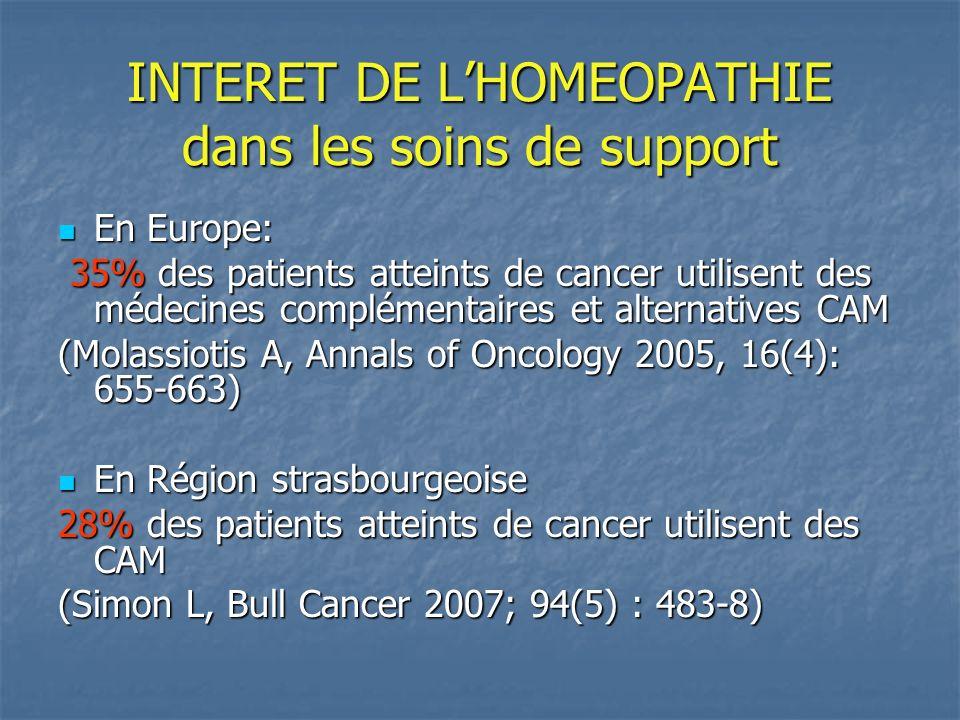 INTERET DE LHOMEOPATHIE dans les soins de support En Europe: En Europe: 35% des patients atteints de cancer utilisent des médecines complémentaires et