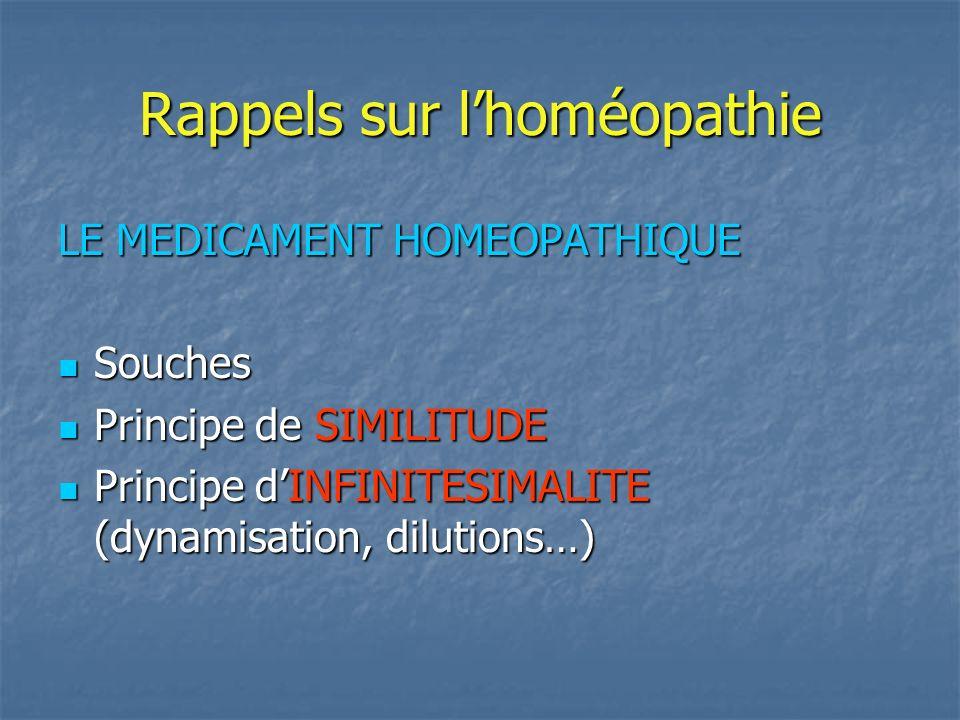 Rappels sur lhoméopathie LE MEDICAMENT HOMEOPATHIQUE Souches Souches Principe de SIMILITUDE Principe de SIMILITUDE Principe dINFINITESIMALITE (dynamis