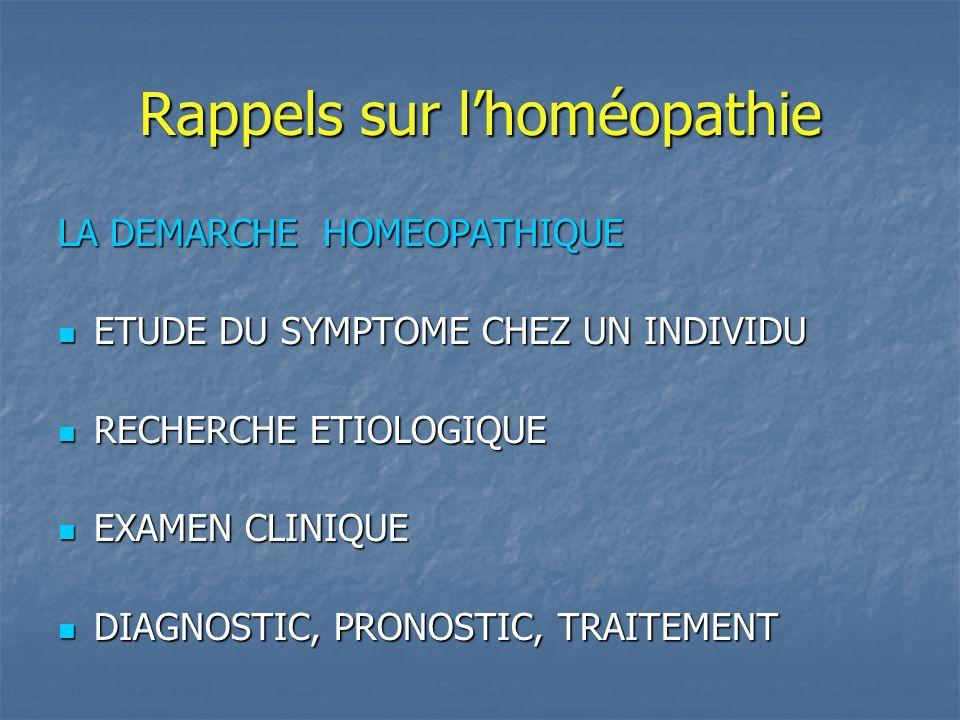 Rappels sur lhoméopathie TRAITEMENTS DE SYMPTOMES TRAITEMENTS DE SYMPTOMES Traitement en aigu Basses ou moyennes dilutions: 5 à 9 CH TRAITEMENTS DE FOND OU TRAITEMENTS DE TERRAIN TRAITEMENTS DE FOND OU TRAITEMENTS DE TERRAIN Moyennes ou hautes dilutions : 15 à 30 CH