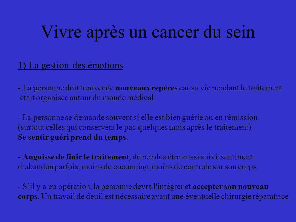 Vivre après un cancer du sein 1) La gestion des émotions - La personne doit trouver de nouveaux repères car sa vie pendant le traitement était organisée autour du monde médical.