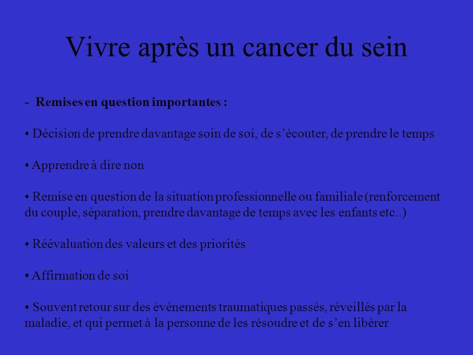 Vivre après un cancer du sein - Remises en question importantes : Décision de prendre davantage soin de soi, de sécouter, de prendre le temps Apprendr